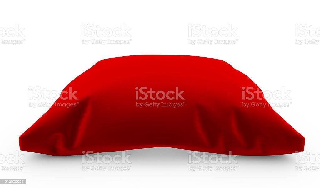 3d render of Royal red velvet pillow isolated stock photo