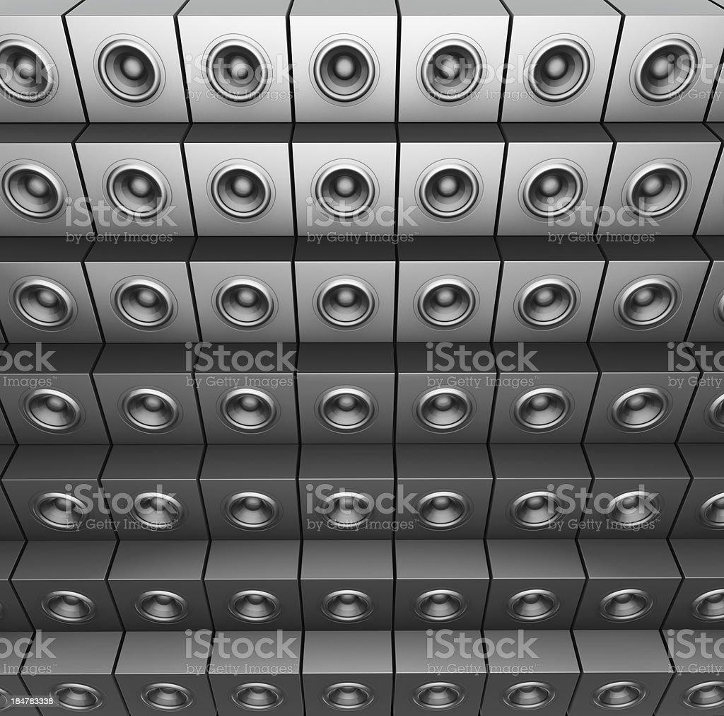 3d render of silver chrome sound-system deejay dj set stock photo