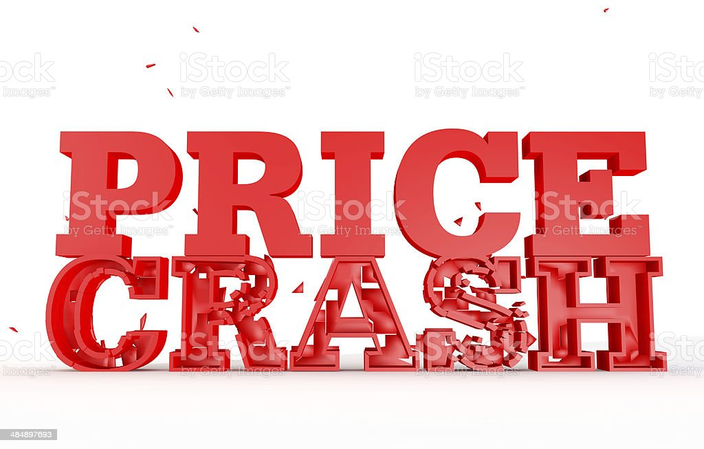 3d render of the word price crash for sales stock photo