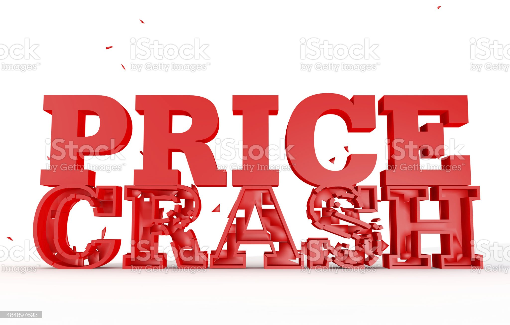 3d render of the word price crash for sales royalty-free stock photo