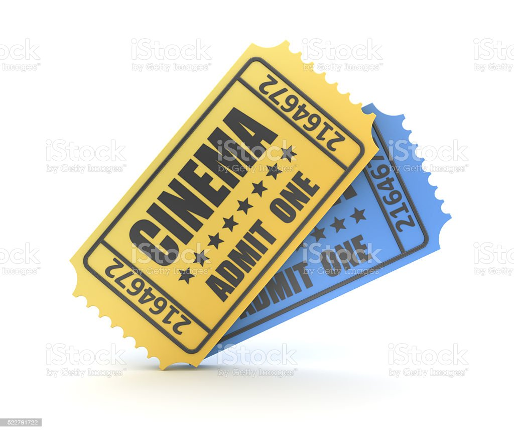 3d render of two cinema ticket stock photo