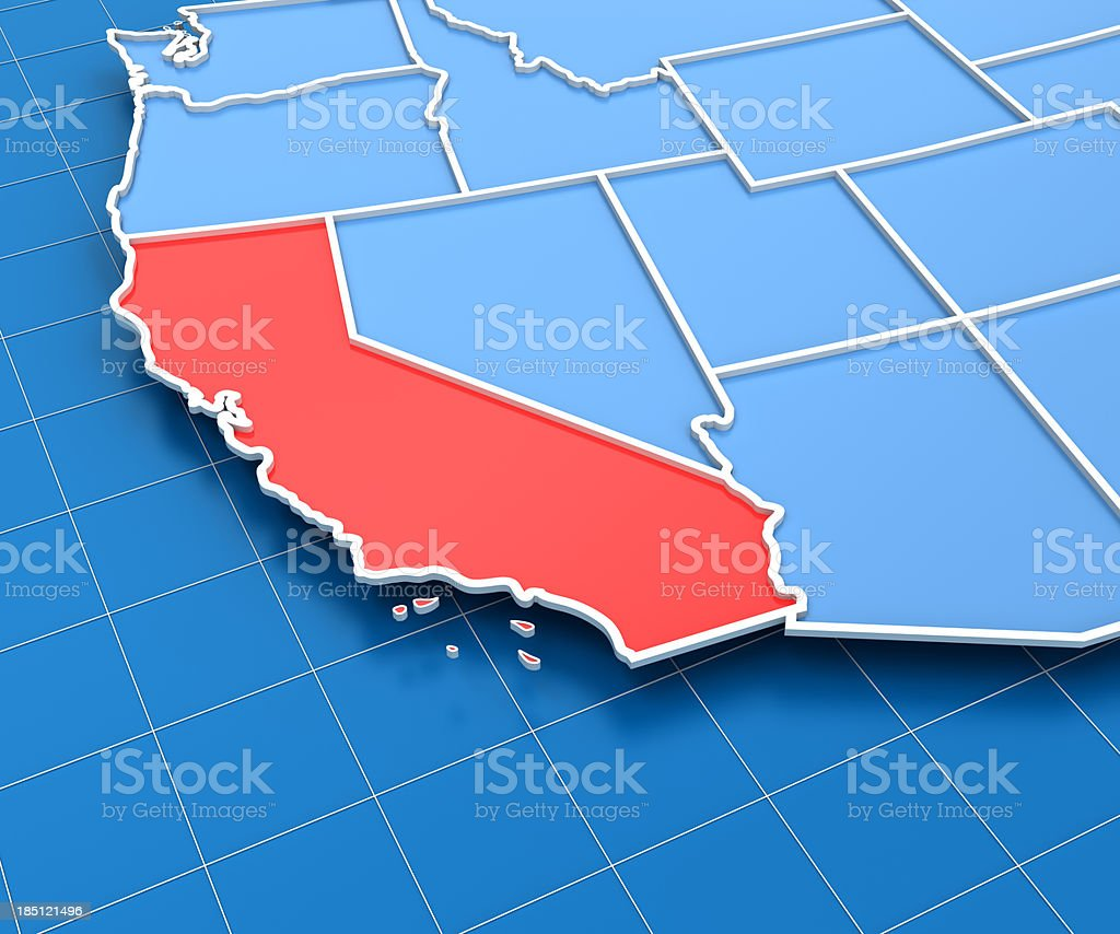 3d render of USA map with California state highlighted royalty-free stock photo