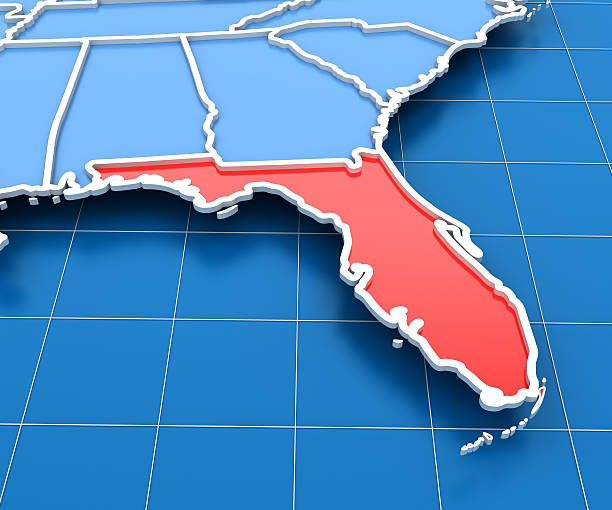 Florida Map Pictures Images And Stock Photos IStock - Map of us with florida and california highlighted