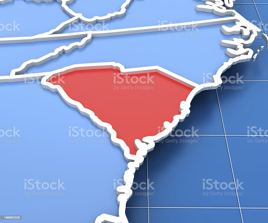 3d render of USA map with South Carolina state highlighted stock photo