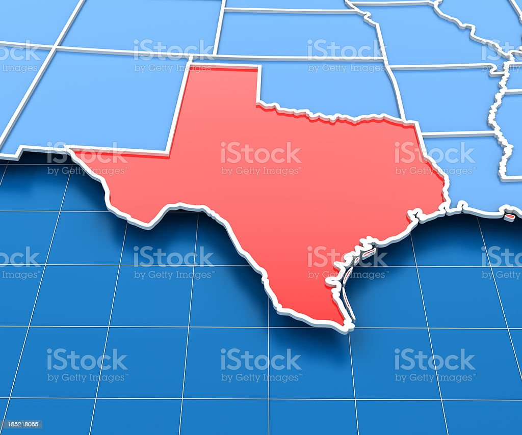 3d render of USA map with Texas State highlighted stock photo