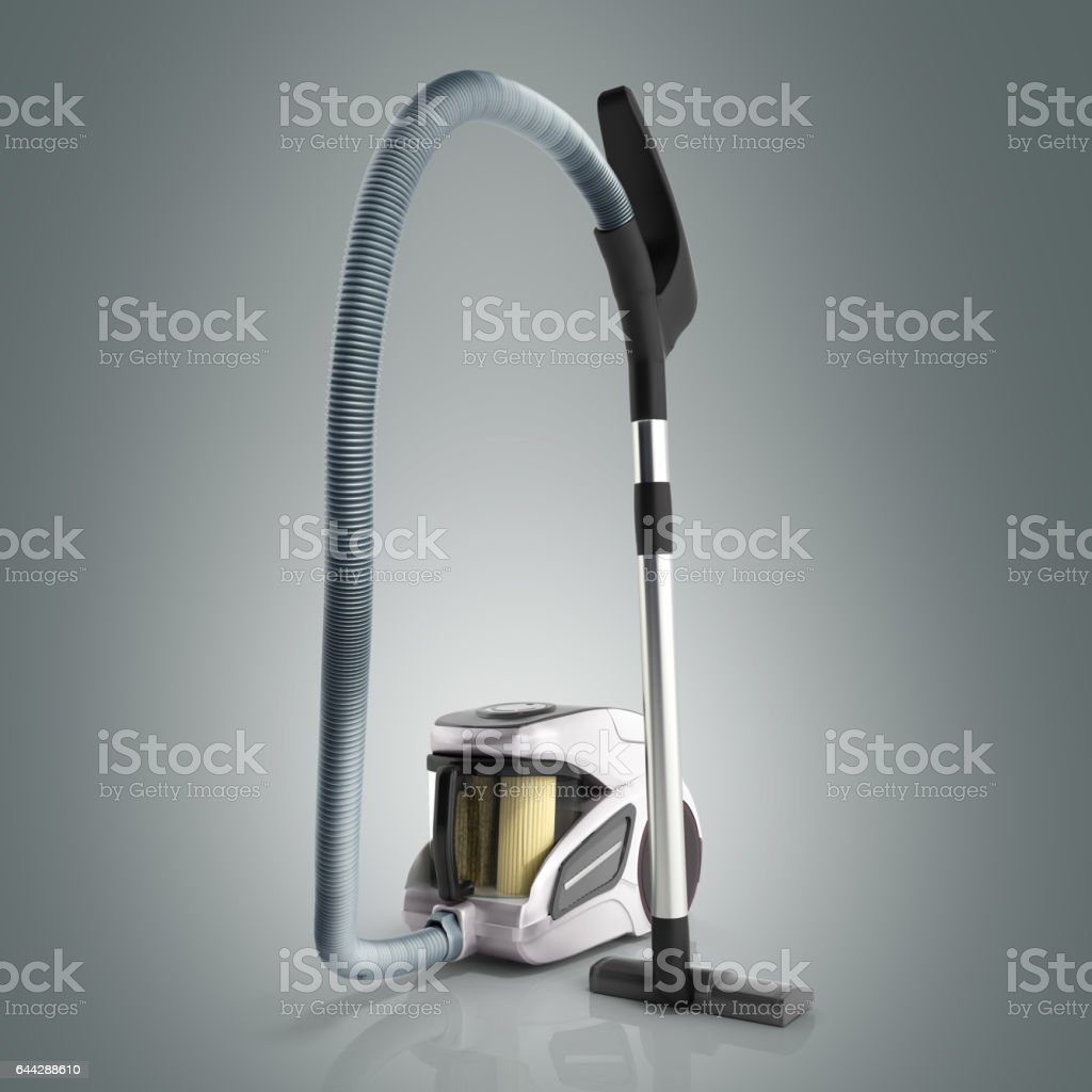 3d render of vacuum cleaner on grey background stock photo