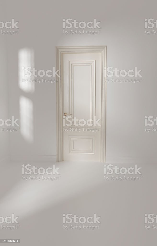 3d render of white empty interior with door stock photo
