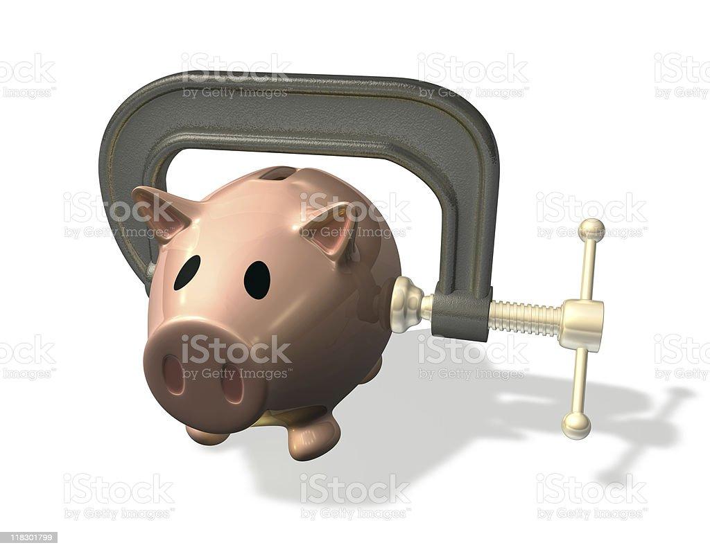 3d render piggy bank credit crunch royalty-free stock photo