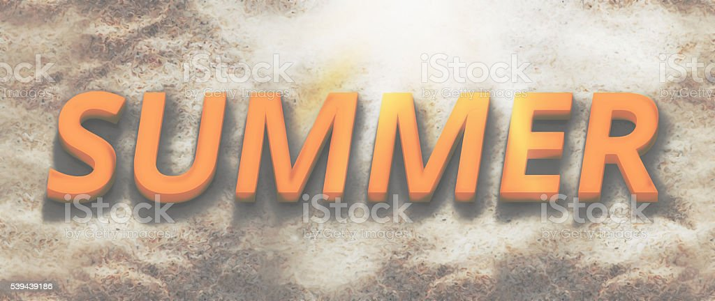 3d render summer beach bold font sand background stock photo
