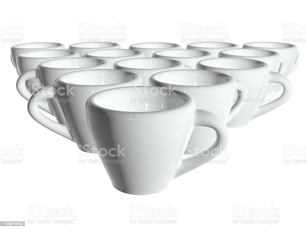 3d render white tea cups isolated without shadow royalty-free stock photo