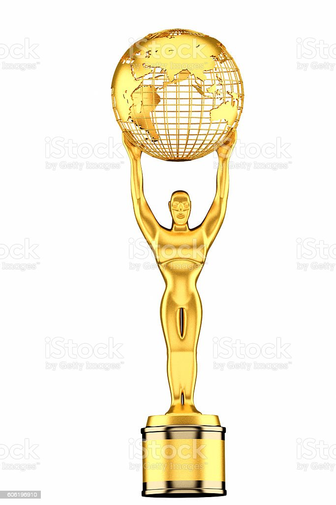 3d render, World Globe Trophy isolated on white background. stock photo
