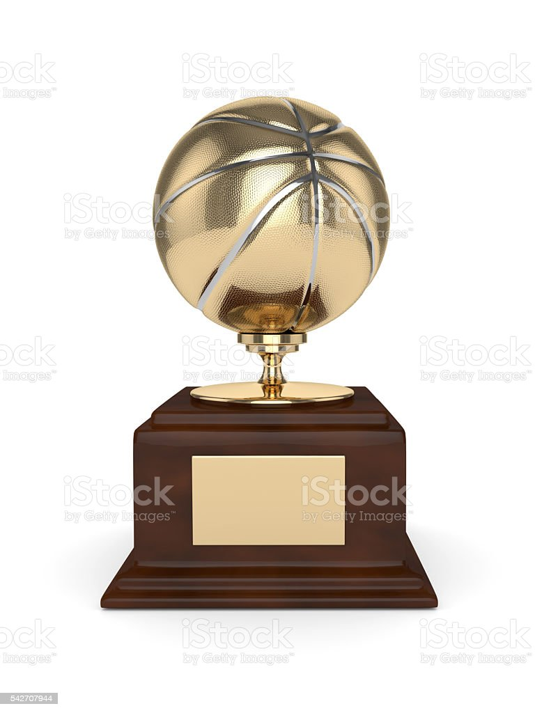 3d rendered basketball trophy isolated on white stock photo