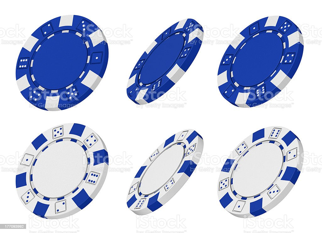3d rendered blue and white casino chips from different angles stock photo