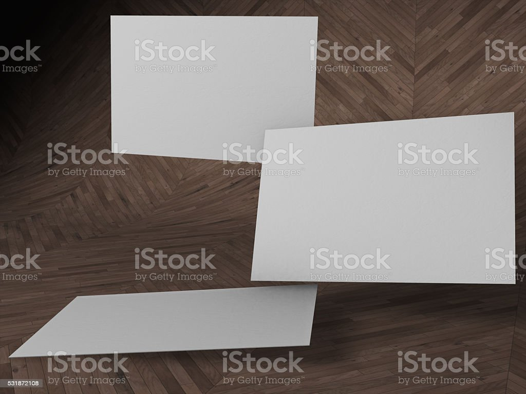 3d rendered Floating  blank name cards royalty-free stock photo