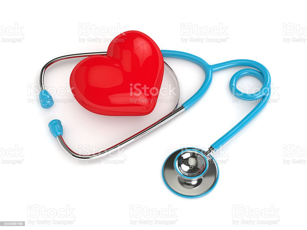 3d rendered heart with stethoscope isolated on white stock photo
