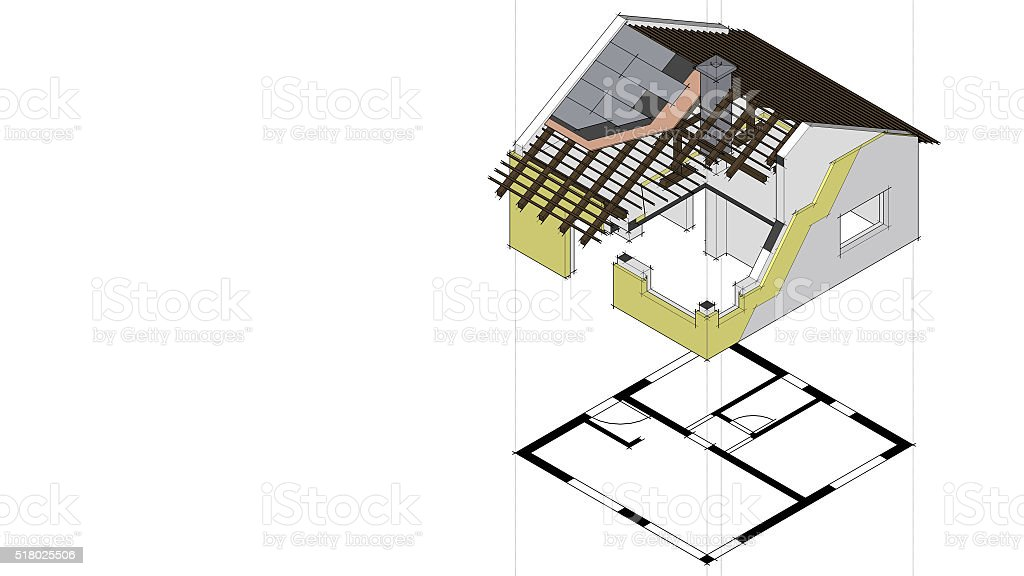 3d rendered house isometric drawing with construction details stock photo