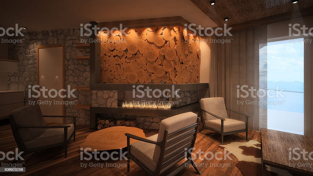 3d rendered image of a mountain apartment interior stock photo