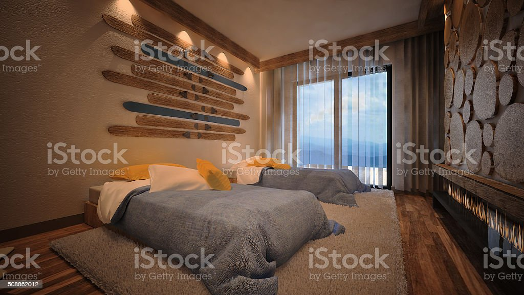3d rendered image of a mountain cabin bedroom stock photo