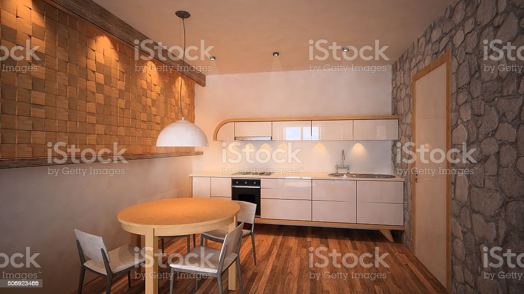 3d rendered image of mouintain apartment kitchen with dining room stock photo