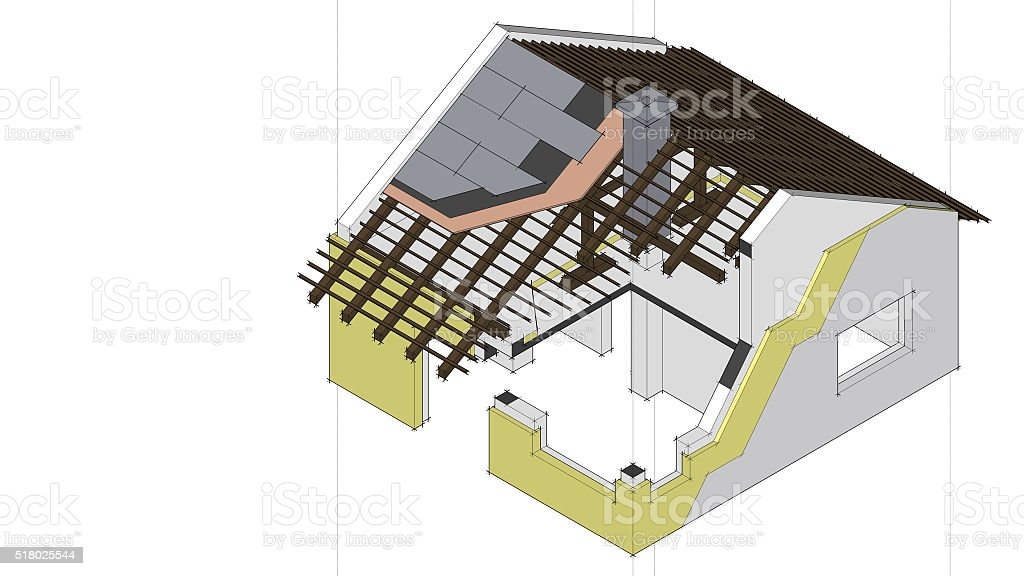3d rendered isometric drawing of a building with construction details stock photo
