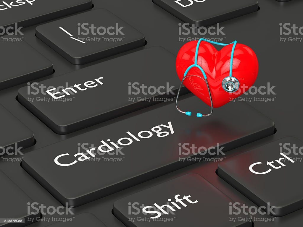 3d rendered keyboard with heart and stethoscope stock photo