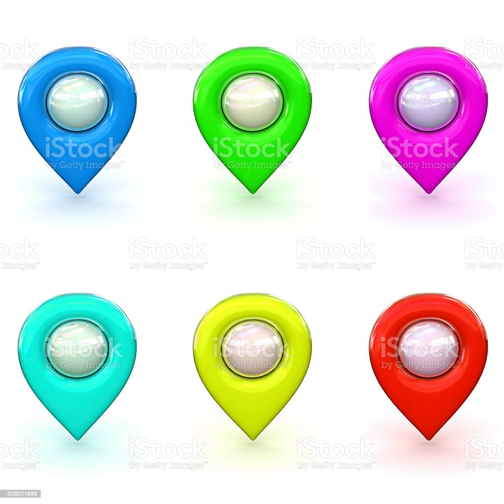 3d Rendered Map Icon Selection stock photo