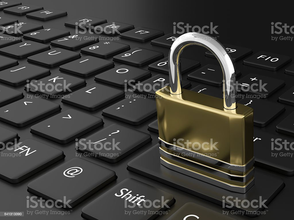 3d rendered padlock on black keyboard stock photo