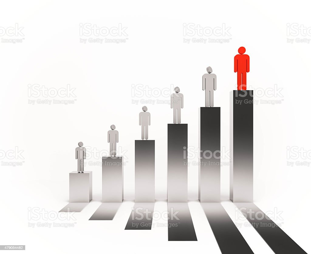 3d rendered, people standing on bar graph stock photo