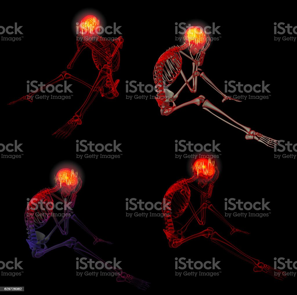 3d rendered red skeleton of a sitting stock photo
