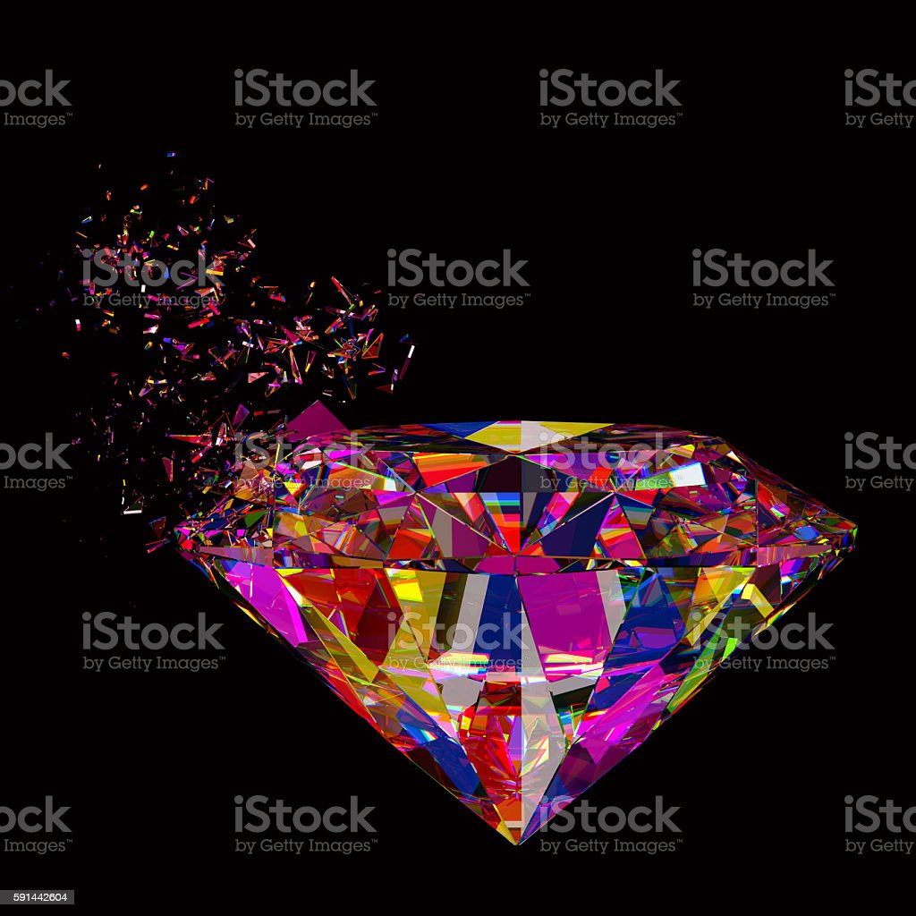 3d rendered sparkling colorful diamond refraction background stock photo