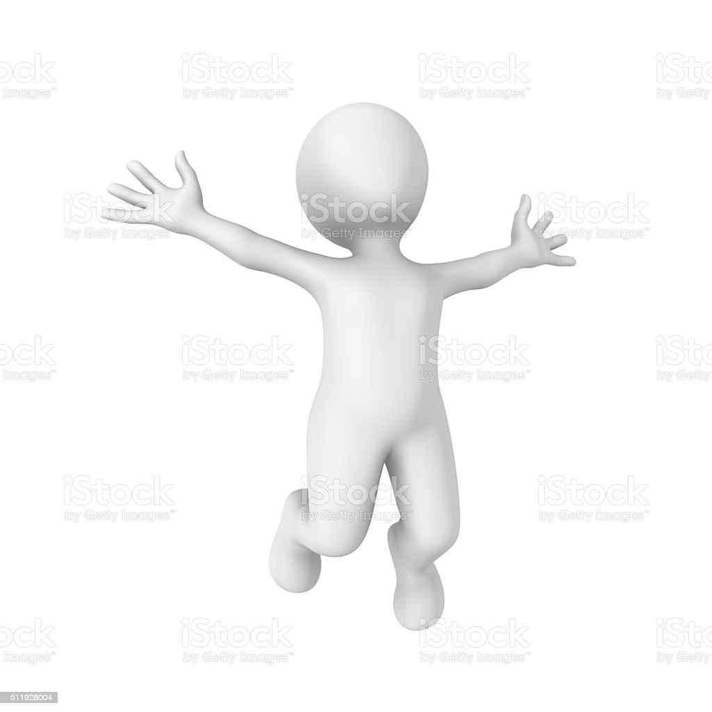 3d rendered white human happily jumps stock photo