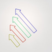 3d rendering abstract colorful arrow for info graphic design