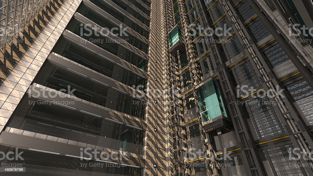 3d rendering. An open Elevator shaft in a building stock photo