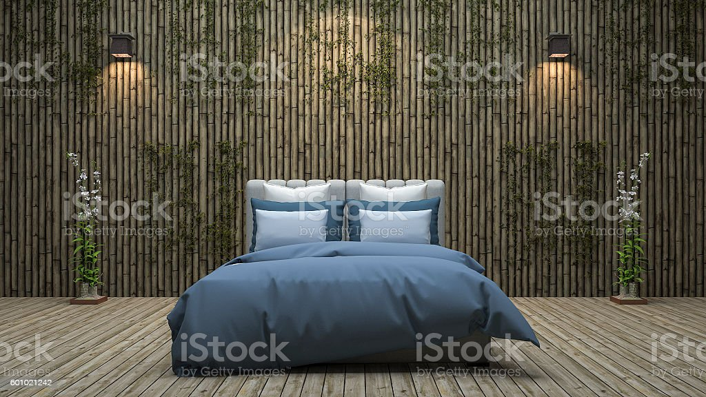 3d rendering bamboo wall bedroom with natural decoration stock photo