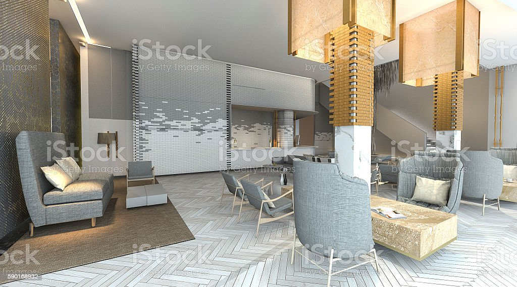 3d rendering beautiful and luxury hotel lobby with nice furniture stock photo
