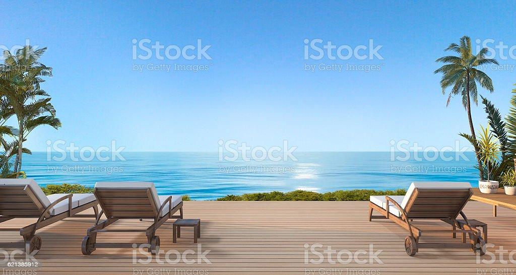 3d rendering beautiful beach bed on terrace near  sea stock photo