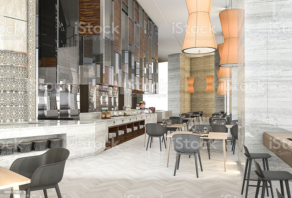 3d rendering beautiful contemporary restaurant with great design stock photo