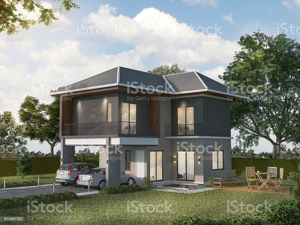 3d rendering beautiful shadow grey house stock photo