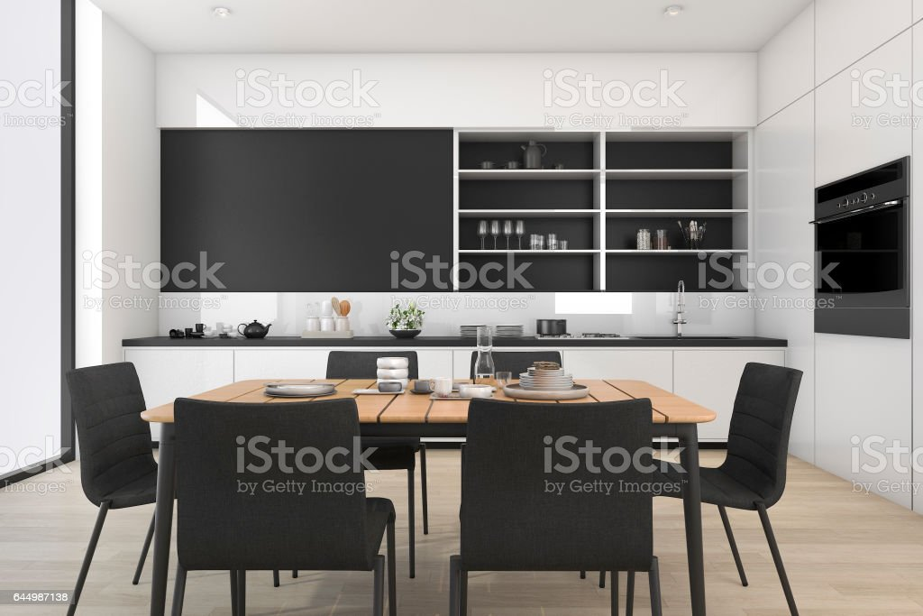 3d rendering black and white loft dining room and kitchen stock photo
