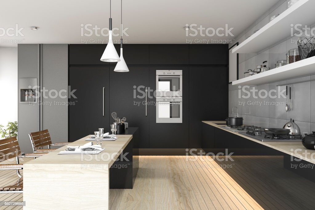 3d rendering black kitchen with wood floor and light stock photo