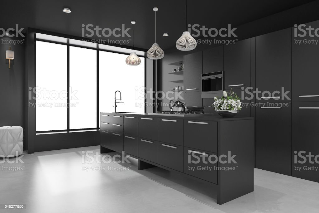 3d rendering black modern luxury kitchen and dining room stock photo