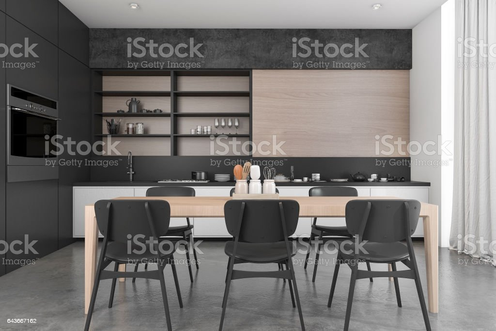 3d rendering black wood loft dining room and kitchen stock photo