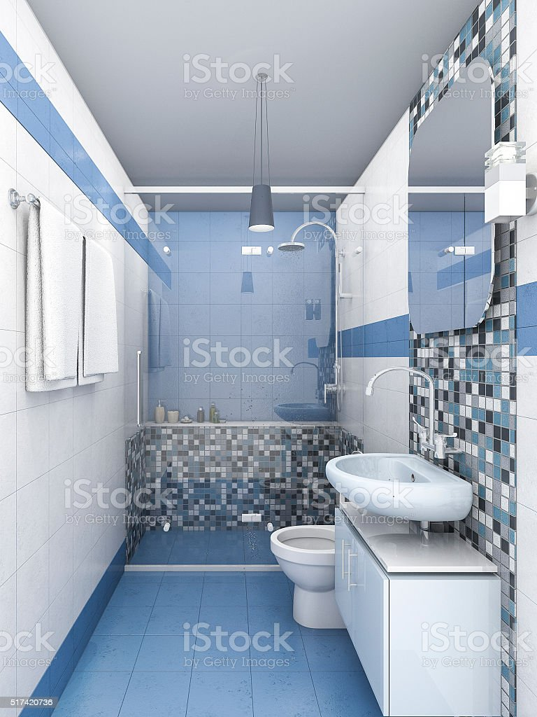 3d rendering blue vintage style bathroom stock photo