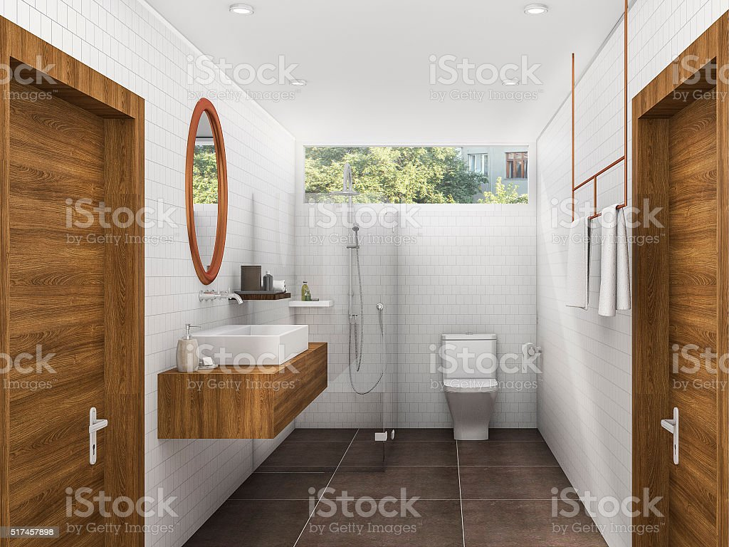 3d rendering brass and wood style bathroom and restroom stock photo