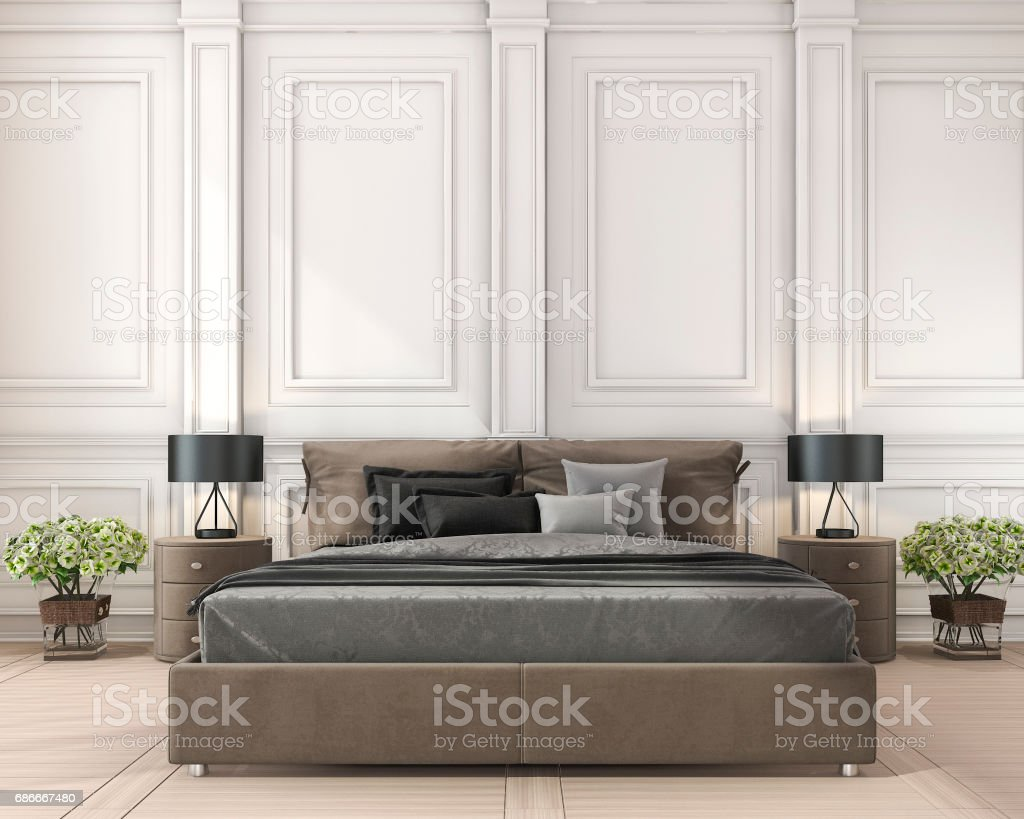 3d rendering brown classic bed in classic bedroom with plant stock photo