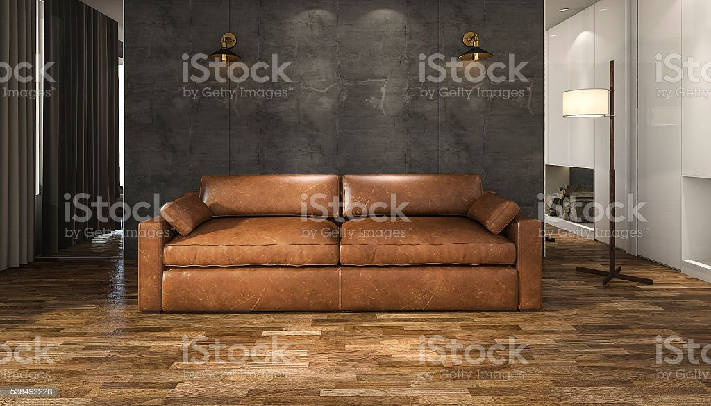 3d rendering brown leather sofa in loft living room stock photo