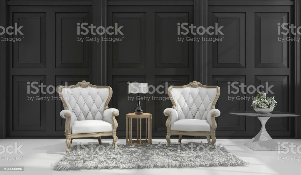 3d rendering classic armchair in black classic room stock photo