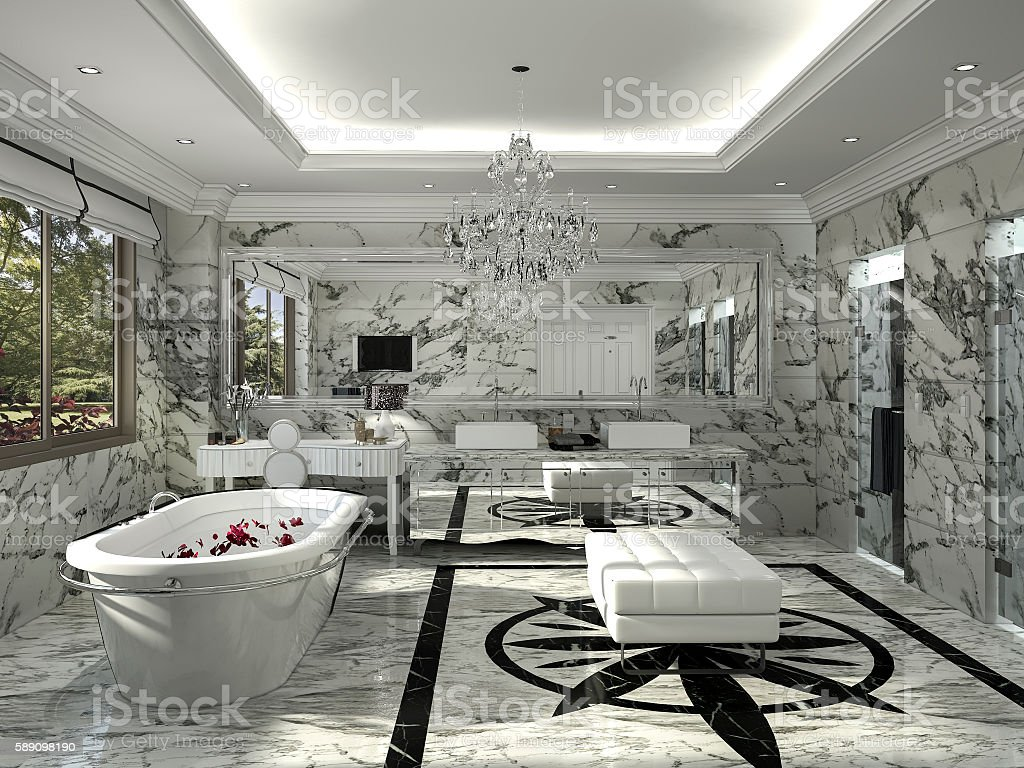 3d rendering classic bathroom with nice marble decoration stock photo