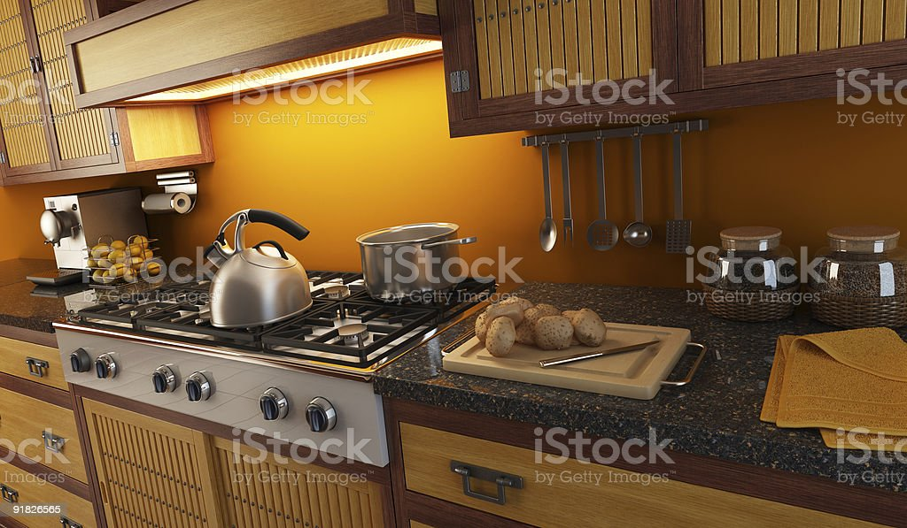 3d rendering close-up view of modern kitchen royalty-free stock photo