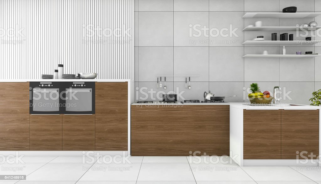 3d rendering contemporary wood kitchen and dining room stock photo